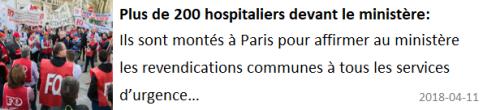 2018 04 11 plus de 200 hospitaliers devant le ministere
